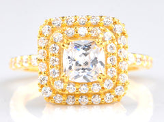 14KT SOLID GOLD 3.60 CARATS BRILLIANT CUT CUSHION SHAPE SOLITAIRE WOMEN'S RING