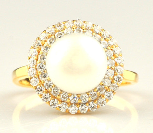14KT SOLID GOLD 4.65 CARATS ROUND SHAPE NATURAL FRESHWATER PEARL & EGL CERTIFIED DIAMOND RING
