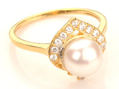 14KT SOLID GOLD 2.95 CARATS ROUND SHAPE NATURAL FRESHWATER PEARL & EGL CERTIFIED DIAMOND RING