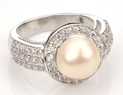 14KT SOLID GOLD 4.75 CARATS ROUND SHAPE NATURAL FRESHWATER PEARL & EGL CERTIFIED DIAMOND RING