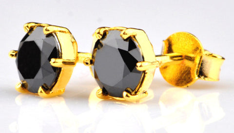 18KT SOLID GOLD 2.50 CARATS 100% NATURAL BLACK DIAMOND ROUND SHAPE WOMEN'S EARRINGS WITH FREE CERTIFICATE
