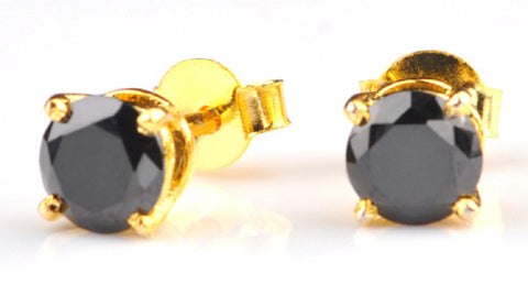 18KT SOLID GOLD 2.70 CARATS 100% NATURAL BLACK DIAMOND ROUND SHAPE WOMEN'S EARRINGS WITH FREE CERTIFICATE