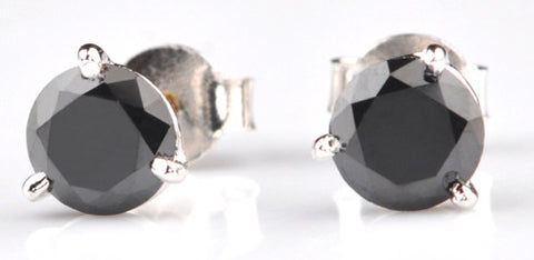 2.70 CARATS ROUND SHAPE 100% NATURAL BLACK DIAMOND 18KT SOLID GOLD WOMEN'S EARRINGS WITH FREE CERTIFICATE