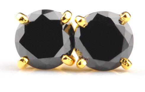 2.75 CARATS ROUND SHAPE 100% NATURAL BLACK DIAMOND 18KT SOLID GOLD WOMEN'S EARRINGS WITH FREE CERTIFICATE