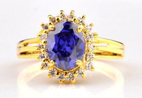 14KT SOLID GOLD 2.60 CARATS OVAL SHAPE REAL NATURAL BLUE TANZANITE & EGL CERTIFIED DIAMOND RING