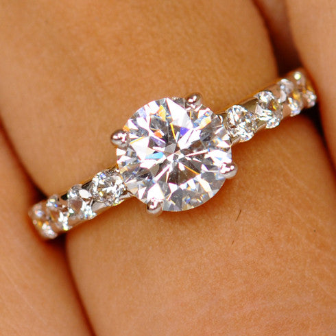 14KT SOLID GOLD 3.50 CARATS RAVISHING ROUND SHAPE SOLITAIRE ENGAGEMENT RING