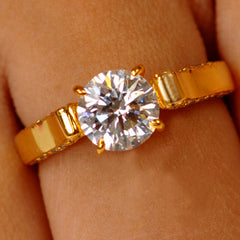 2.35 CARATS BEAUTIFUL ROUND SHAPE 14KT SOLID GOLD SOLITAIRE WOMEN'S RING