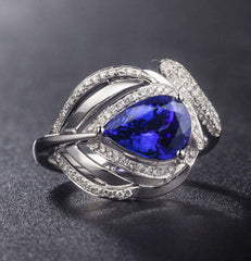 14KT SOLID GOLD 1.70 CARATS PEAR SHAPE REAL NATURAL BLUE TANZANITE & EGL CERTIFIED DIAMOND RING