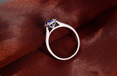 1.45 CARATS 14KT SOLID GOLD EGL CERTIFIED DIAMOND & ROUND SHAPE NATURAL BLUE TANZANITE RING