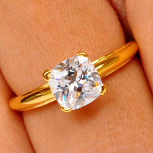 2.95 CARATS CUSHION SHAPE REAL 14KT SOLID GOLD SOLITAIRE ANNIVERSARY RING