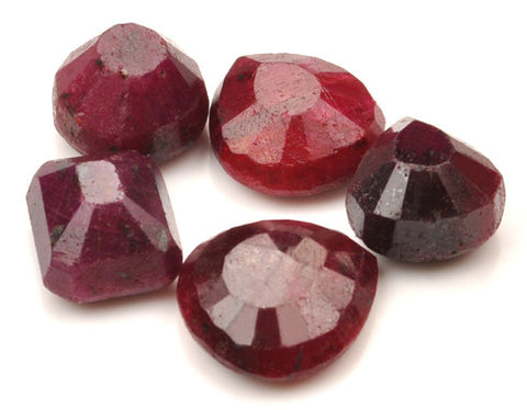 100%  NATURAL 5PCS. RED RUBY 94.40 CARATS MIXED SHAPES LOOSE GEMSTONES WHOLESALE LOT WITH FREE CERTIFICATE