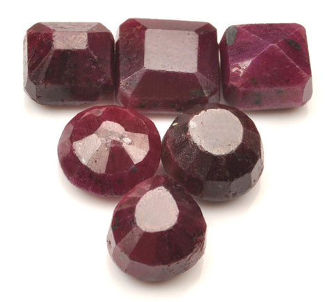 100% NATURAL RED RUBY 140.50 CARATS MIXED SHAPES 6PCS/ LOOSE GEMSTONES WHOLESALE LOT WITH FREE CERTIFICATE