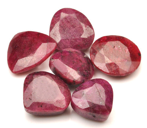 100% NATURAL 6PCS. RED RUBY 154.05 CARATS MIXED SHAPES LOOSE GEMSTONES WHOLESALE LOT WITH FREE CERTIFICATE