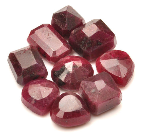 100% NATURAL 9PCS. RED RUBY 140.50 CARATS MIXED SHAPES LOOSE GEMSTONES WHOLESALE LOT WITH FREE CERTIFICATE