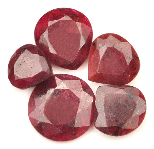 100% NATURAL 5PCS. RED RUBY 128.00 CARATS MIXED SHAPES LOOSE GEMSTONES WHOLESALE LOT WITH FREE CERTIFICATE