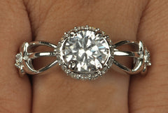 2.85 CARATS FABULOUS ROUND SHAPE 18KT SOLID GOLD SOLITAIRE ENGAGEMENT RING