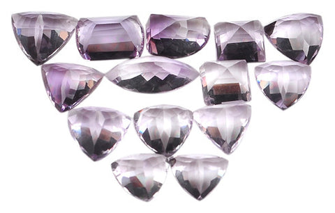 100% CERTIFIED NATURAL AMETHYST 83.85 CARATS MIXED SHAPES LOOSE GEMSTONES 14PCS/WHOLESALE LOT