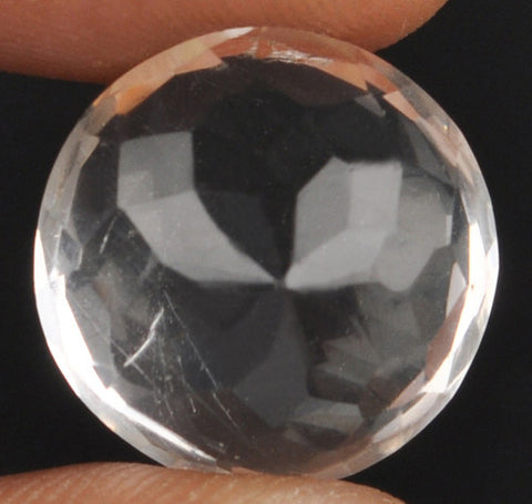 100% CERTIFIED 15.06 CARATS ROUND SHAPE NATURAL WHITE QUARTZ LOOSE GEMSTONE