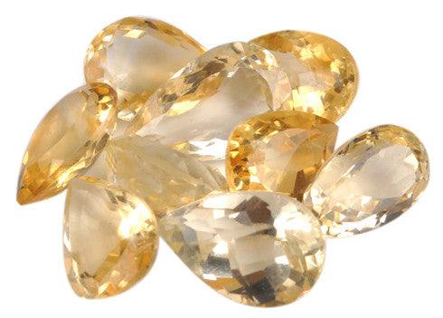 42.80 CARATS 100% NATURAL CITRINE PEAR SHAPES LOOSE GEMSTONES WHOLESALE LOT WITH FREE CERTIFICATE