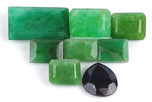 100% CERTIFIED 73.00 CARATS NATURAL BLUE SAPPHIRE ,EMERALD MIXED SHAPES 8PCS/LOOSE GEMSTONES WHOLESALE LOT