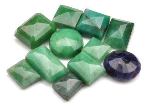 100% CERTIFIED 97.10 CARATS NATURAL BLUE SAPPHIRE ,EMERALD MIXED SHAPES 11PCS/LOOSE GEMSTONES WHOLESALE LOT