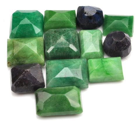 100% CERTIFIED 174.80 CARATS NATURAL BLUE SAPPHIRE ,EMERALD MIXED SHAPES 12PCS/LOOSE GEMSTONES WHOLESALE LOT