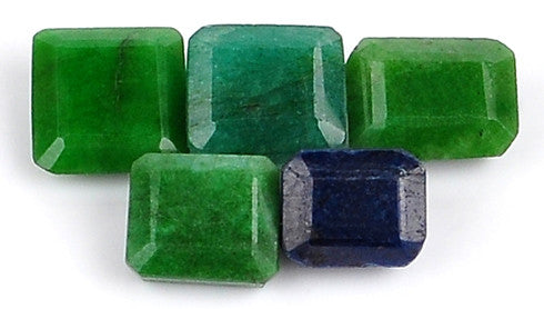 100% CERTIFIED 100.00 CARATS NATURAL BLUE SAPPHIRE ,EMERALD MIXED SHAPES 5PCS/LOOSE GEMSTONES WHOLESALE LOT