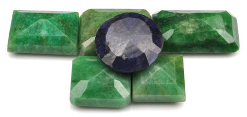 100% CERTIFIED 135.00 CARATS NATURAL BLUE SAPPHIRE ,EMERALD MIXED SHAPES 6PCS/LOOSE GEMSTONES WHOLESALE LOT