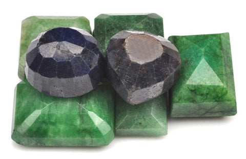 100% CERTIFIED 269.00 CARATS NATURAL BLUE SAPPHIRE ,EMERALD MIXED SHAPES 6PCS/LOOSE GEMSTONES WHOLESALE LOT