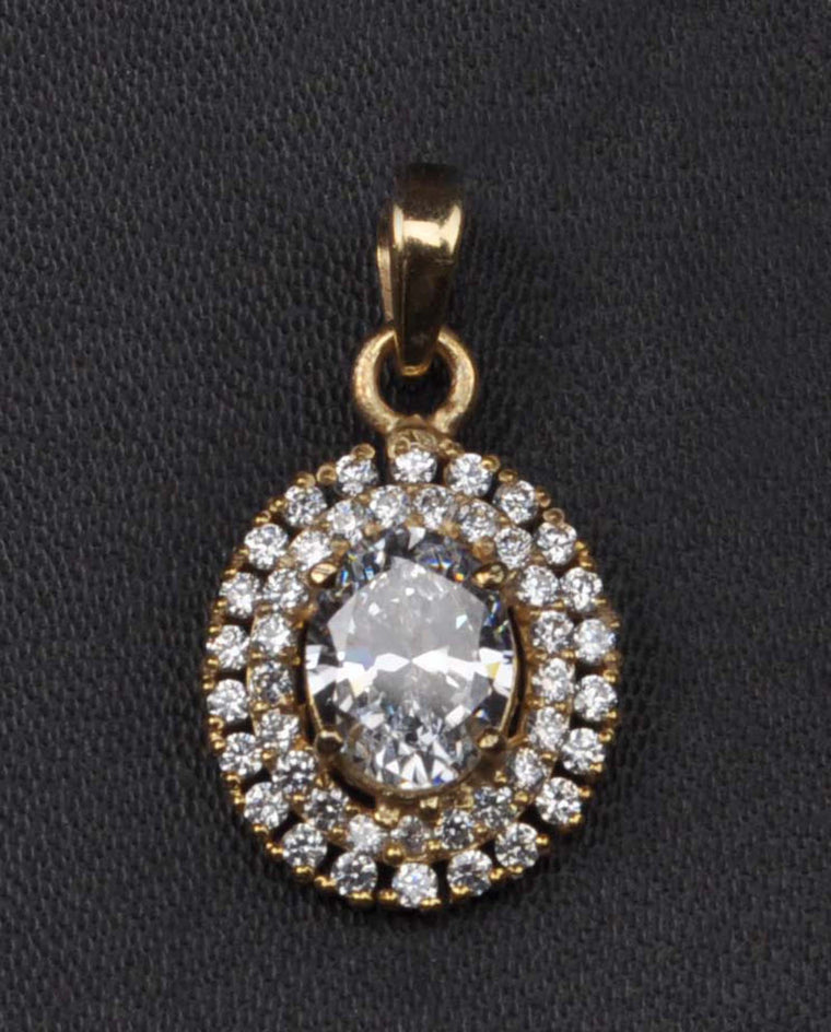 REAL 18KT SOLID GOLD OVAL CUT 2.85 CARATS SOLITAIRE WOMEN'S PENDANT