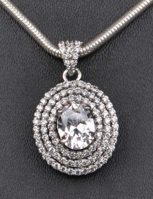 2.80 CARATS BRILLIANT OVAL CUT 925 STERLING SILVER SOLITAIRE PENDANT - WITHOUT CHAIN