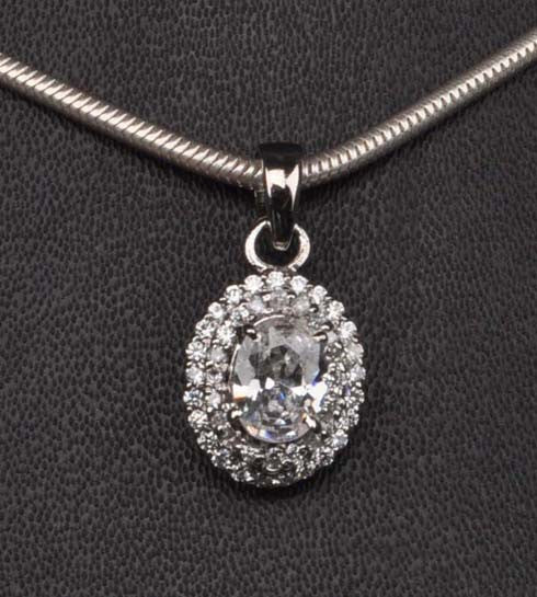 2.35 CARATS TOP QUALITY OVAL SHAPE 925 STERLING SILVER SOLITAIRE PENDANT - WITHOUT CHAIN