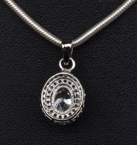 2.25 CARATS OVAL SHAPE 925 STERLING SILVER SOLITAIRE ANNIVERSARY PENDANT - WITHOUT CHAIN