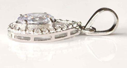 3.20 CARATS 925 STERLING SILVER GRACEFUL OVAL SHAPE SOLITAIRE PENDANT - WITHOUT CHAIN