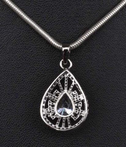3.10 CARATS PEAR SHAPE 925 STERLING SILVER SOLITAIRE PENDANT - WITHOUT CHAIN