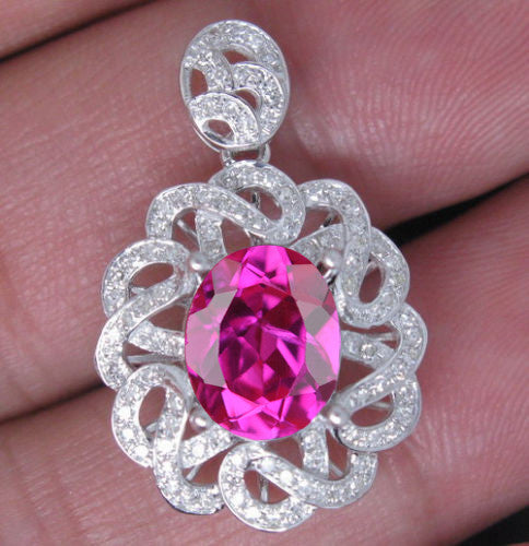 14KT SOLID GOLD 3.05 CARATS EGL CERTIFIED DIAMOND & OVAL SHAPE NATURAL PINK TOURMALINE PENDANT