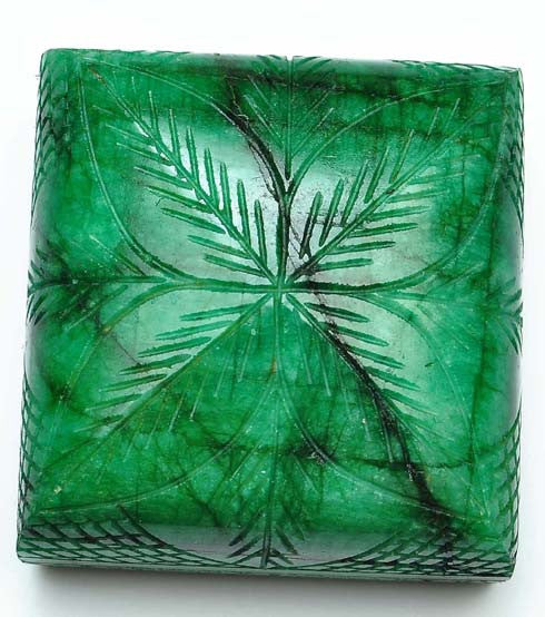 100% CERTIFIED 1302.30 CARATS SQUARE SHAPE NATURAL GREEN EMERALD LOOSE GEMSTONE CARVED