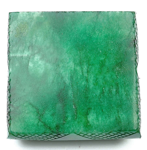 928.80 CARATS 100% NATURAL GREEN EMERALD CARVED SQUARE SHAPE LOOSE GEMSTONE WITH FREE CERTIFICATE