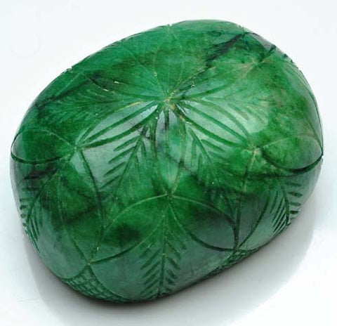 100% CERTIFIED 1620.00 CARATS OVAL SHAPE NATURAL GREEN EMERALD CARVED LOOSE GEMSTONE