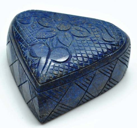 1384.90 CARATS 100% NATURAL LAPIS LAZULI CARVED TRILLION SHAPE LOOSE GEMSTONE WITH CERTIFICATE