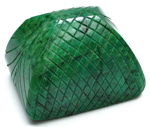 100% CERTIFIED EARTH MINDED NATURAL GREEN EMERALD CARVED 773.10 CARATS OCTAGON SHAPE LOOSE GEMSTONE