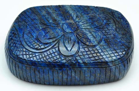 100% CERTIFIED NATURAL LAPIS LAZULI MUSEUM SIZE CARVED 1745.50 CARATS CUSHION SHAPE LOOSE GEMSTONE