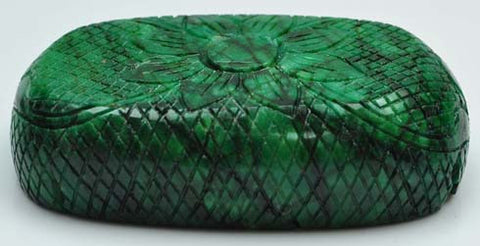 100% CERTIFIED EARTH MINDED NATURAL GREEN EMERALD CARVED 1175.00 CARATS OVAL SHAPE LOOSE GEMSTONE