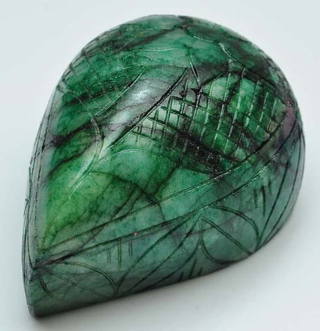 1529.10 CARATS 100% NATURAL GREEN EMERALD MOGHUL CARVED PEAR SHAPE LOOSE GEMSTONE WITH FREE CERTIFICATE