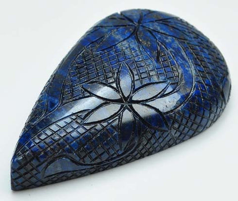100% CERTIFIED NATURAL LAPIS LAZULI RARE MASTER CARVED 1014.40 CARATS PEAR SHAPE LOOSE GEMSTONE