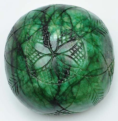 1924.00 CARATS 100% NATURAL SUPREME GREEN EMERALD CARVED ROUND SHAPE LOOSE GEMSTONE WITH FREE CERTIFICATE