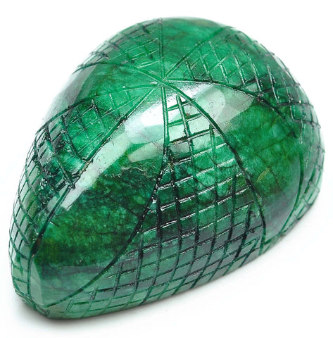713.10 CARATS 100% NATURAL GREEN EMERALD CARVED PEAR SHAPE LOOSE GEMSTONE WITH FREE CERTIFICATE