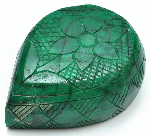 100% NATURAL GREEN EMERALD CARVED PEAR SHAPE 1890.00 CARATS LOOSE GEMSTONE WITH FREE CERTIFICATE