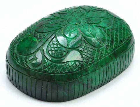 1779.40 CARATS 100% NATURAL GREEN EMERALD CARVED OVAL SHAPE LOOSE GEMSTONE WITH FREE CERTIFICATE