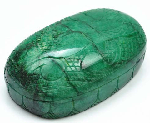 1890.00 CARATS OVAL SHAPE 100% NATURAL GREEN EMERALD CARVED LOOSE GEMSTONE WITH FREE CERTIFICATE